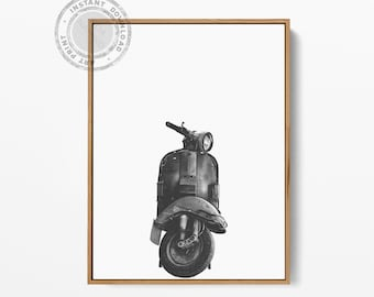 Vespa Print, Vespa Motorcycle Art, Vespa Printable, Vespa Photography, Printable Wall Art