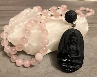 Lava with Onyx Buddha Pendant 6mm Matte Clear Quartz Rose Quartz Mala Necklace