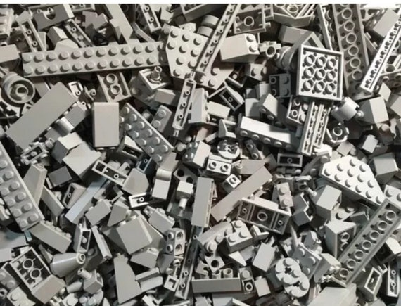 Two Pound Lot of  Old Dark Gray Lego Bricks Plates Specialty Pieces