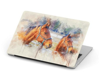 6f65cdaaa55 Hard shell MacBook case Two Horses in Paint Style FREE SHIPPING