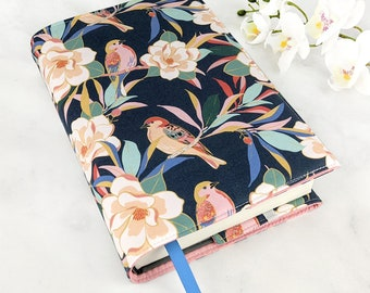 Adjustable book cover - Floral book cover - Fabric book cover - Floral book sleeve - Adjustable book sleeve - Paperback cover - Birds navy