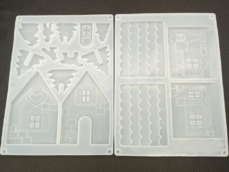 Gingerbread House Silicone Mold for Epoxy Resin 2 molds included Christmas mold  baking mold