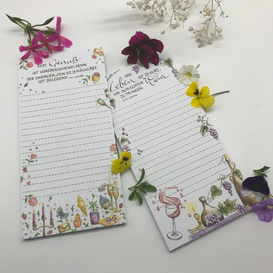 2 teiliges Set Notizblock/ Schreibblock DIN lang