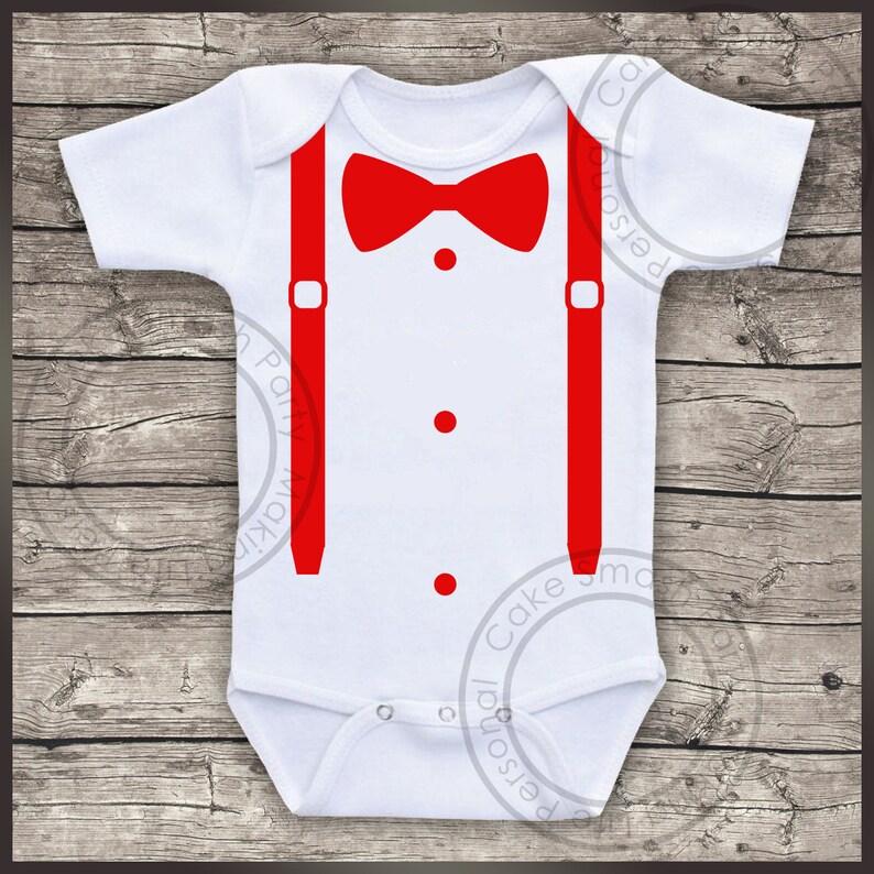 Bodysuit Braces /& Bow Tie Boys Baby Grow Bodysuit Vest
