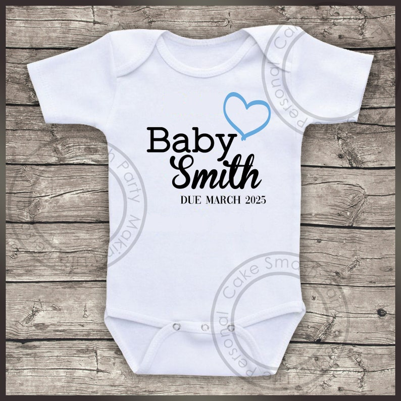 Personalised Baby Bodysuit Birth Announcement Surname /& Due Date Blue and Black