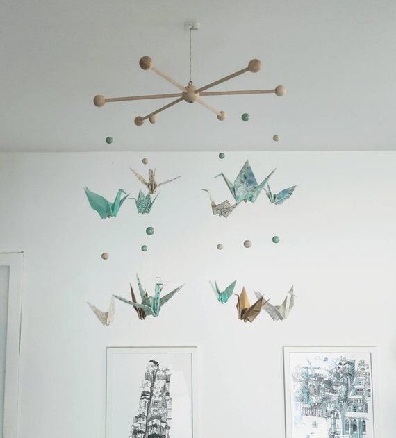 Origami crane, baby mobile with rustic hoop | Made with love on ... | 631x570