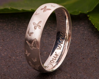 Butterflies Engraved Band, Butterfly Ring, Comfort Fit Ring, Personalized Ring, 6mm Wide Band