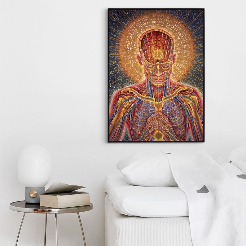 Trippy Alex Grey Psychedelic Art Posters and Prints Canvas Painting Wall  Art Picture for Living Room Home Decor(No Frame)