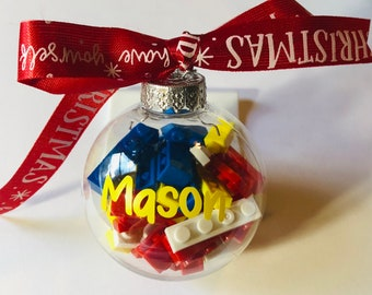 """2"""" or 4"""" Lego Ornament (personalized)"""