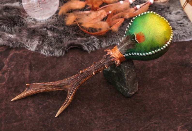 Shaman Rattle,Shamanic Shaker,Driftwood, Deer, Nordic,Ancient Slavic,  Ritual, Braided, Invocation of Spirits, Heart Chakra,