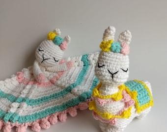 Llamas Babysquit: manta de apego + sonajero a CROCHET. Patrón en ESPAÑOL