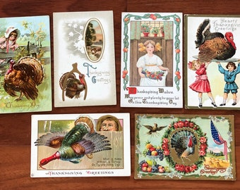 Vintage Thanksgiving Postcard Collection 6 Postcards Supply Lot