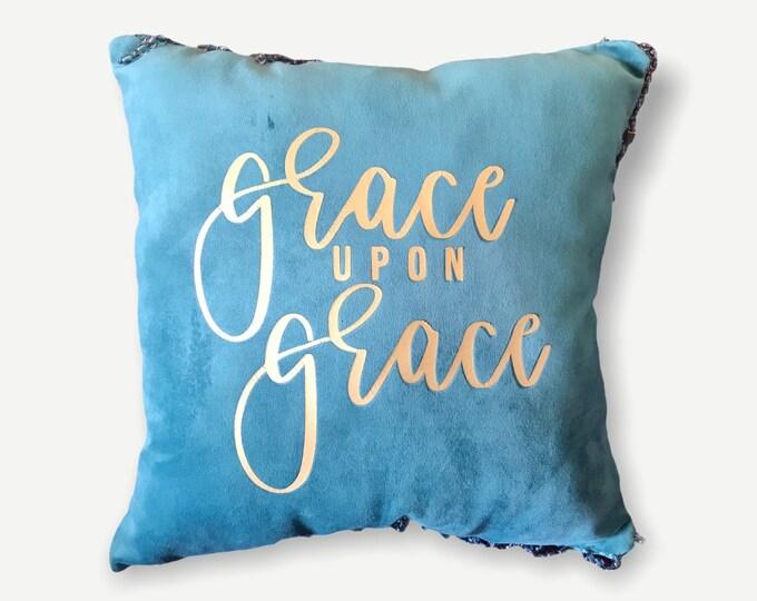 Grace Upon Grace Pillow | Living Room Pillow| Scripture Pillow| Throw Pillows| Christians Home Decorations