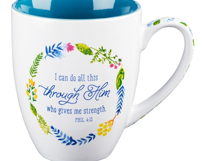 Philippians 4:13 Floral Watercolor Mug, Gift For Coffee And Tea Lovers, Personalised Watercolour Floral Wreath Frame Mug, Painted Mug