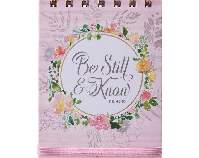 Be Still & Know Pink Floral Wirebound Notepad, Large Wire-Bound, Lined Pages Notebook, Pink Floral,Floral-Abstract Cover, Christmas Gift