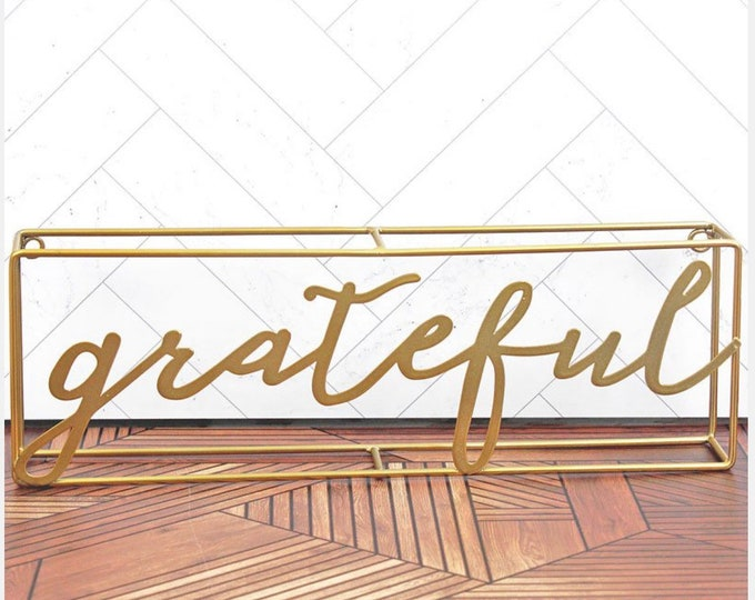4 x 12 'Grateful' Gold Metal Tabletop Sign × 1, Grateful Sings House Decor, Wall Hangings Signs Metal Decor, House Sign Grateful, Ideal Gif