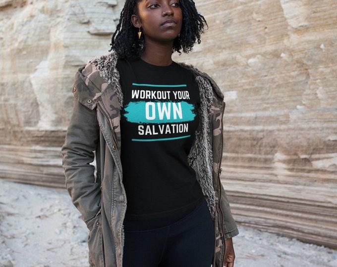 Workout Salvation| Salvation Shirt| Women's T-shirt| Christian T-Shirt