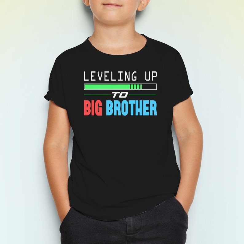0afcc9e8e Leveling Up To Big Brother Youth Short Sleeve T-Shirt Baby   Etsy