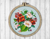 Vintage Morning Glory and Nasturtiums Cross Stitch Pattern, Embroidery Flowers, Morning Glory Cross Stitch Pattern, Flowers X Stitch Pattern
