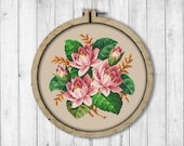 Vintage Water Lilies Cross Stitch Pattern, Lotus Cross Stitch Pattern, Water Lily X Stitch Pattern, Berlin Woolwork, Embroidery Flowers