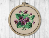 Vintage Violets 2 Cross Stitch Pattern, Spring Flowers Cross Stitch Pattern, Violet XStitch, Berlin Woolwork, Victorian Embroidery Flowers