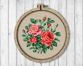 Vintage Roses 1 Cross Stitch Pattern, Garden Roses Cross Stitch Pattern, Roses X Stitch Pattern, Berlin Woolwork, Embroidery Flowers