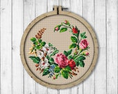 Vintage Wreath 9 Cross Stitch Pattern, Flowers Cross Stitch Pattern, Roses Wreath X Stitch, Flower Wreath, Modern Embroidery Flowers