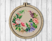 Vintage Wreath 11 Cross Stitch Pattern, Flowers Cross Stitch Pattern, Wild Rose Flower, Flower Wreath, Lilac, Modern Embroidery Flowers