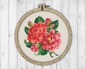 Peony Cross Stitch Pattern, Modern Cross Stitch Pattern, Bouquet Cross Stitch Pattern, Flowers Cross Stitch Pattern, Peonies Cross Stitch