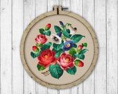 Vintage Morning Glory and Roses Cross Stitch Pattern, Embroidery Flowers, Morning Glory Cross Stitch Pattern, Roses Cross Stitch Pattern