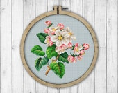 Vintage Apple Blossom Cross Stitch Pattern, Blooming Apple Branch Cross Stitch Pattern, Embroidery Blooming Tree, Victorian Embroidery