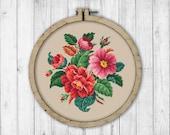 Vintage Wild Roses Cross Stitch Pattern, Embroidery Rose, Rose Cross Stitch Pattern, Flowers Cross Stitch Pattern, Embroidery Flowers