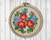 Vintage Bouquet 5 Cross Stitch Pattern, Roses Cross Stitch Pattern, Berlin Woolwork, Flowers, Lilac Bouquet, Modern Embroidery Flowers