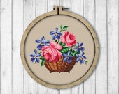 Vintage Violets and Roses Cross Stitch Pattern, Basket of Flowers Cross Stitch Pattern, Berlin Woolwork, Modern Embroidery Flowers
