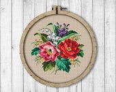 Vintage Flowers 5 Cross Stitch Pattern, Roses Cross Stitch Pattern, Berlin Woolwork, Flowers Bouquet, Rose, Modern Embroidery Flowers