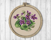 Vintage Violets Cross Stitch Pattern, Spring Flowers Cross Stitch Pattern, Flower, Violets, Berlin Woolwork, Modern Embroidery Flowers
