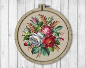 Vintage Bouquet 2 Cross Stitch Pattern Roses Cross Stitch Pattern Vintage Flowers Flowers Bouquet Rose Modern Embroidery Flowers