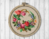 Vintage Wreath 10 Cross Stitch Pattern, Roses Cross Stitch Pattern, Flower Wreath Cross Stitch Pattern, Embroidery Victorian Flowers