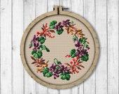 Vintage Violets and Berries Wreath Cross Stitch Pattern, Spring Flowers Cross Stitch Pattern, Violets, Flower, Berry, Berlin Woolwork