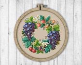 Vintage Wreath 13 Cross Stitch Pattern, Fruit Berry Wreath Cross Stitch Pattern, Victorian Embroidery, Berries Cross Stitch Pattern