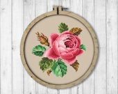 Vintage Rose Cross Stitch Pattern, Flower Cross Stitch Pattern, Embroidery Rose, Victorian Embroidery, Modern Embroidery Flowers, Wall Decor