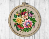 Vintage Bouquet 8 Cross Stitch Pattern, Flowers Cross Stitch Pattern, Berlin Woolwork, Flower Bouquet, Pansy, Modern Embroidery Flowers