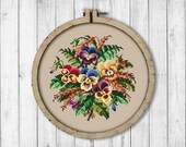 Vintage Bouquet Pansy 2 Cross Stitch Pattern, Spring Flowers X Stitch Pattern, Flower, Pansy, Berlin Woolwork, Modern Embroidery Flowers