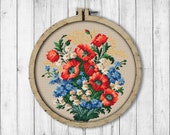 Vintage Bouquet 7 Cross Stitch Pattern, Poppies Cross Stitch Pattern, Berlin Woolwork, Flowers Bouquet, Poppies, Modern Embroidery Flowers
