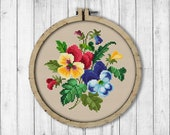 Vintage Flowers Pansy Cross Stitch Pattern, Spring Flowers Cross Stitch Pattern, Flower, Pansy, Berlin Woolwork, Modern Embroidery Flowers