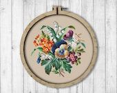 Vintage Pansies 1 Cross Stitch Pattern, Pansy Cross Stitch Pattern, Embroidery Pansy, Embroidery Flowers, Berlin Woolwork, Wall Decor