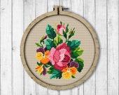 Vintage Flowers 3 Cross Stitch Pattern, Rose Cross Stitch Pattern, Spring Flowers, Pansy, Berlin Woolwork, Modern Embroidery Flowers