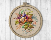 Vintage Bouquet Pansy 1 Cross Stitch Pattern, Spring Flowers X Stitch Pattern, Flower, Pansy, Berlin Woolwork, Modern Embroidery Flowers