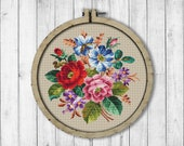 Vintage Bouquet 3 Cross Stitch Pattern, Roses Cross Stitch Pattern, Berlin Woolwork, Flowers Bouquet, Rose, Modern Embroidery Flowers