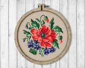 Vintage Poppy Cross Stitch Pattern, Violets Cross Stitch Pattern, Summer Flowers Cross Stitch Pattern, Berlin Woolwork, Victorian Embroidery